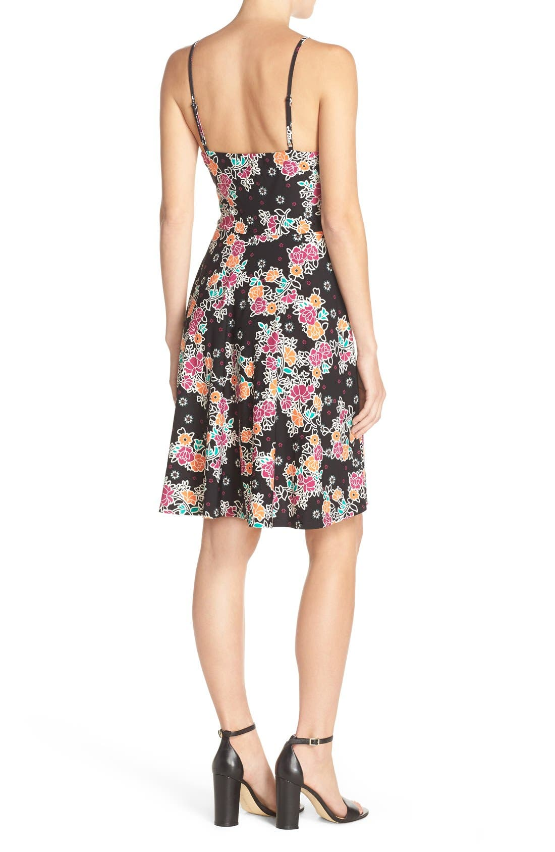 Alternate Image 2  - ECI Bow Front Print Fit & Flare Dress