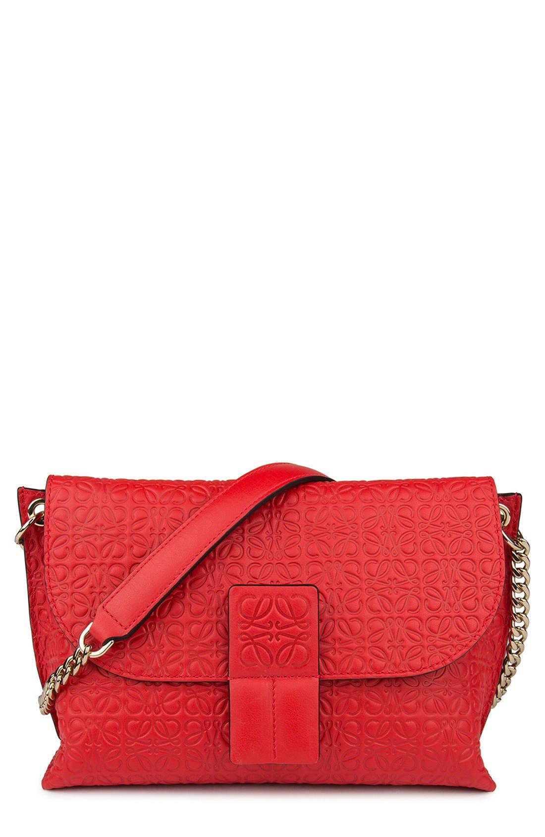 LOEWE 'Avenue' Embossed Calfskin Leather Crossbody Bag