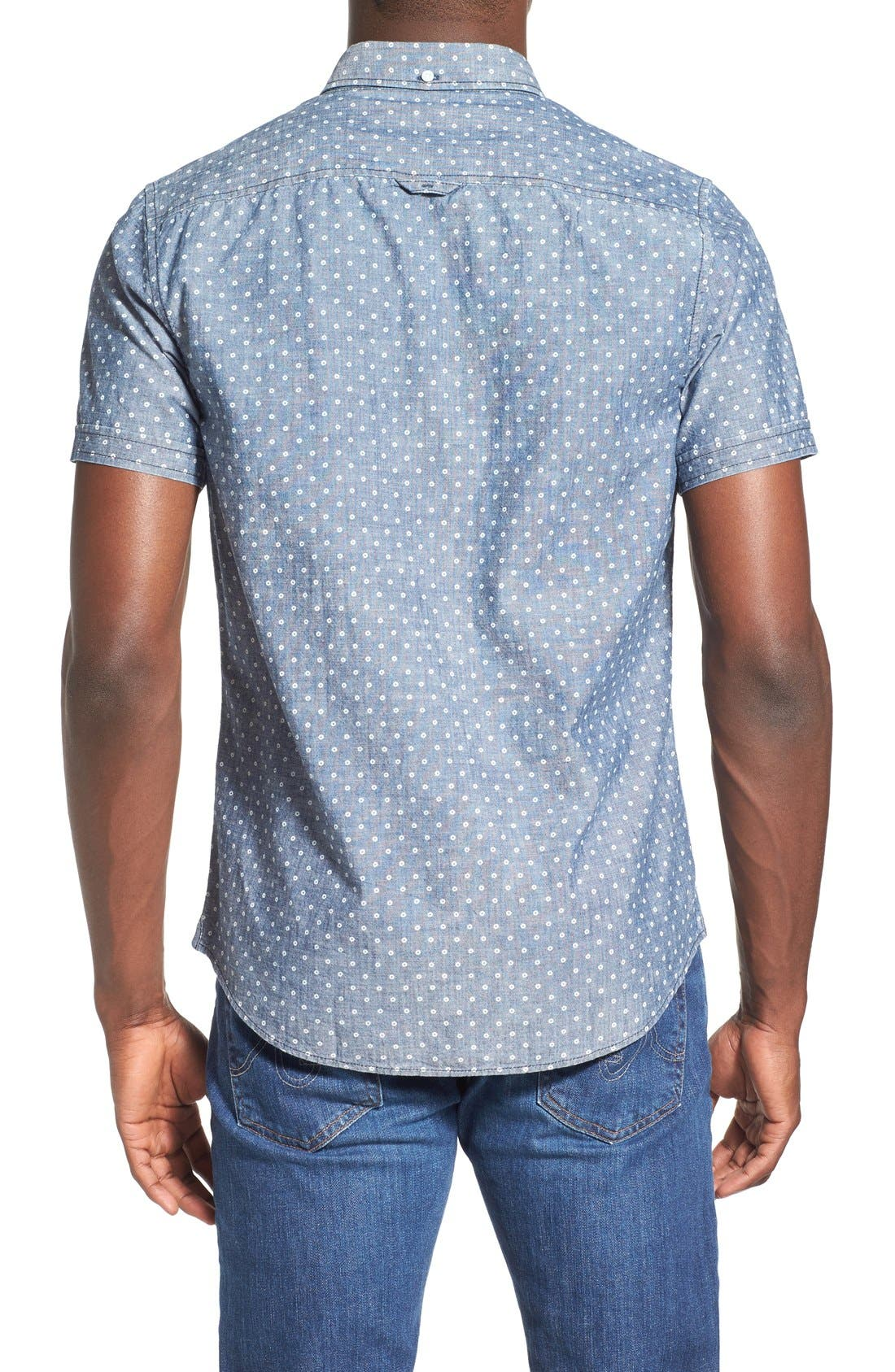 Alternate Image 2  - 1901 'Whitman' Trim Fit Short Sleeve Dot Print Chambray Shirt