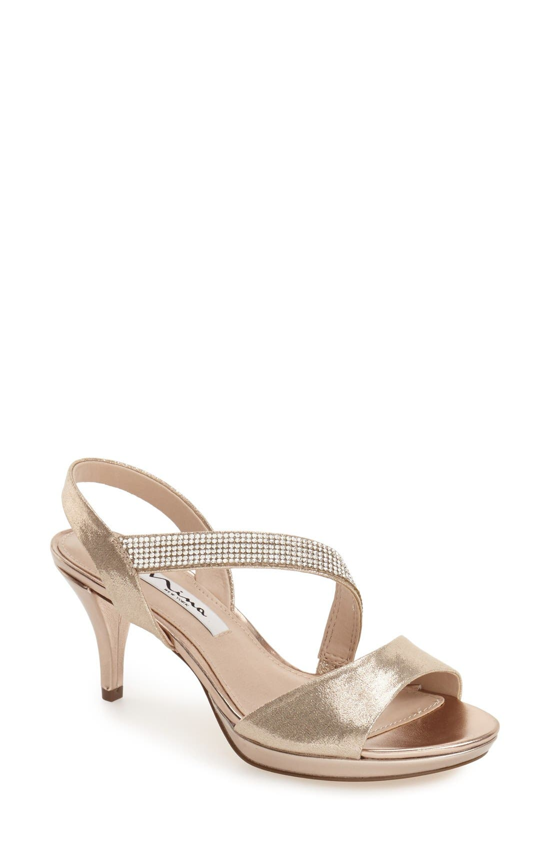 NINA 'Novelle' Crystal Embellished Evening Sandal