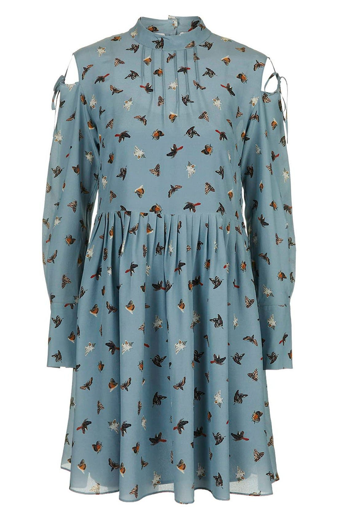 Alternate Image 4  - Topshop Unique 'Campion' Butterfly Print Silk Babydoll Dress