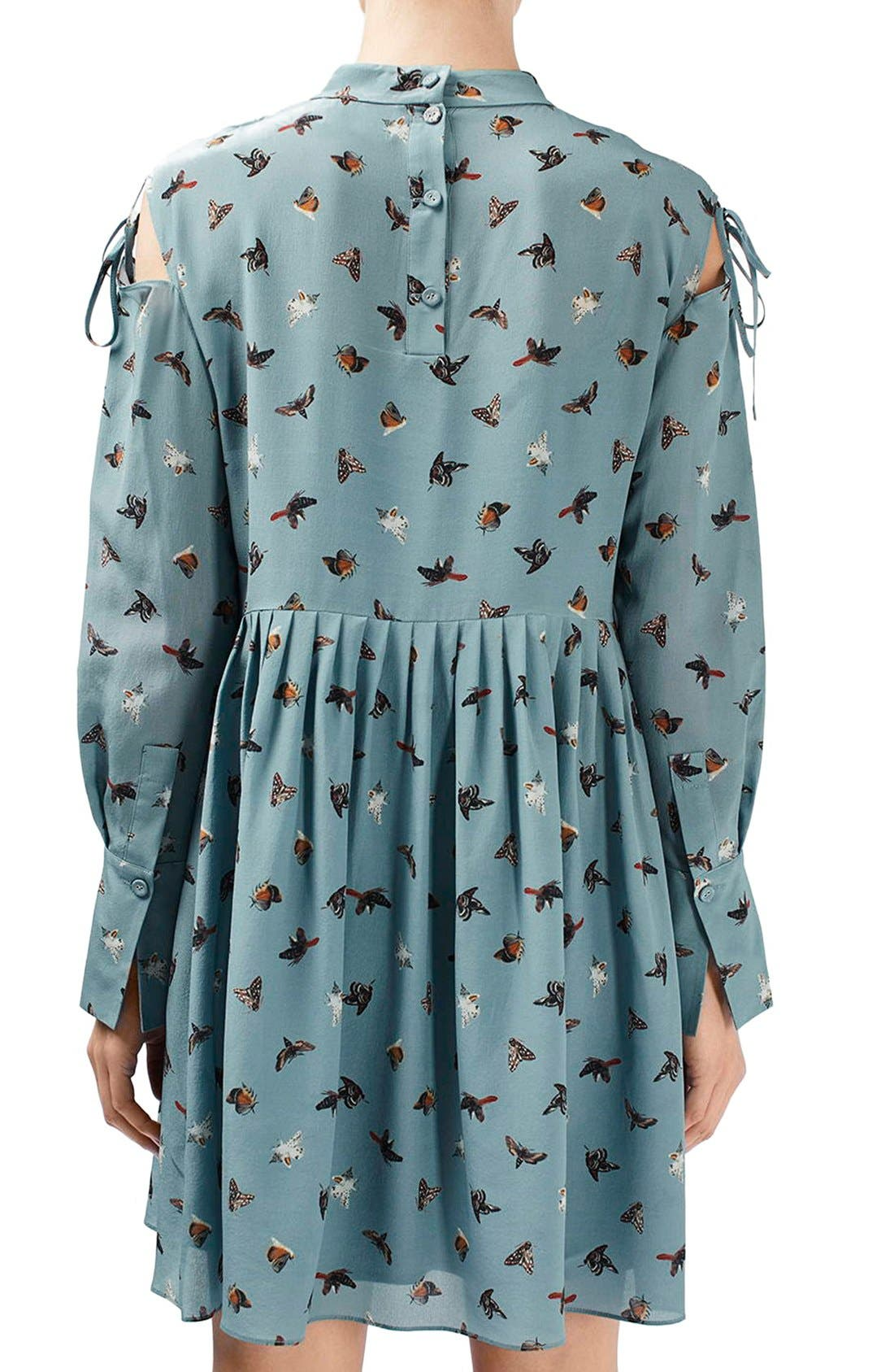 Alternate Image 2  - Topshop Unique 'Campion' Butterfly Print Silk Babydoll Dress