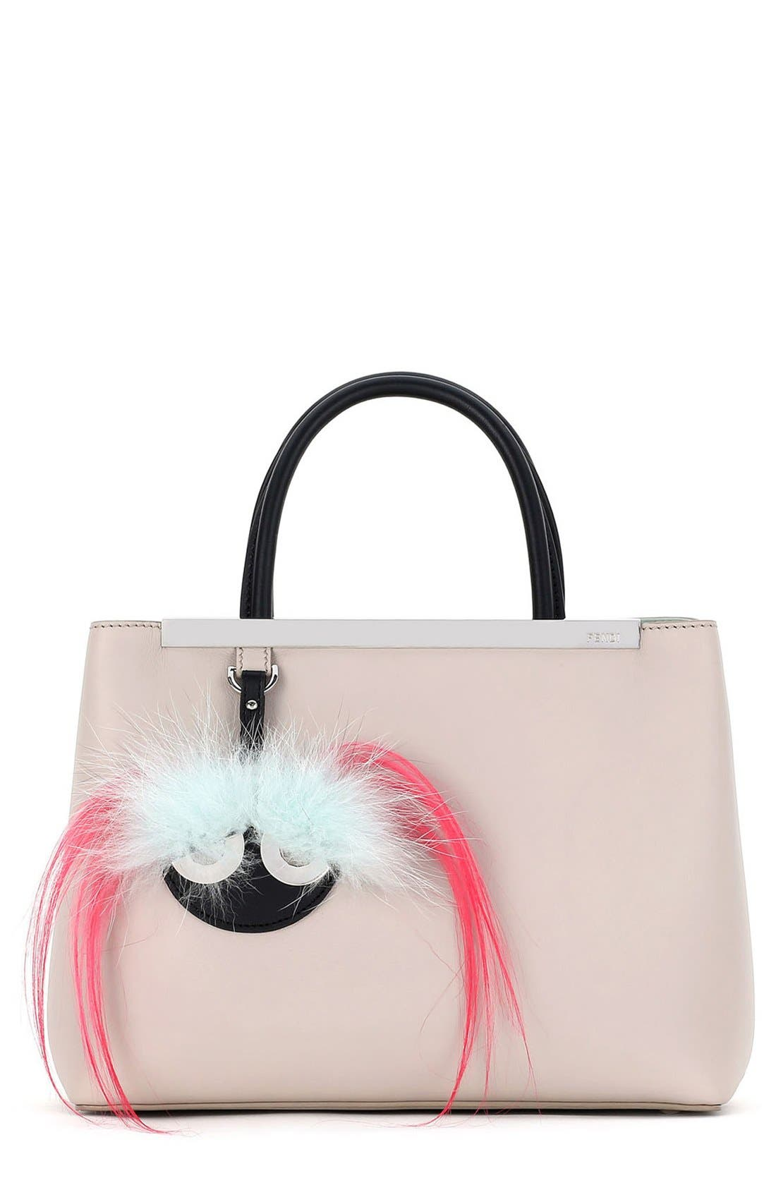 Main Image - Fendi 'Petite 2Jours' Bicolor Leather Shopper with Genuine Fox & Kidassia Fur Monster Charm
