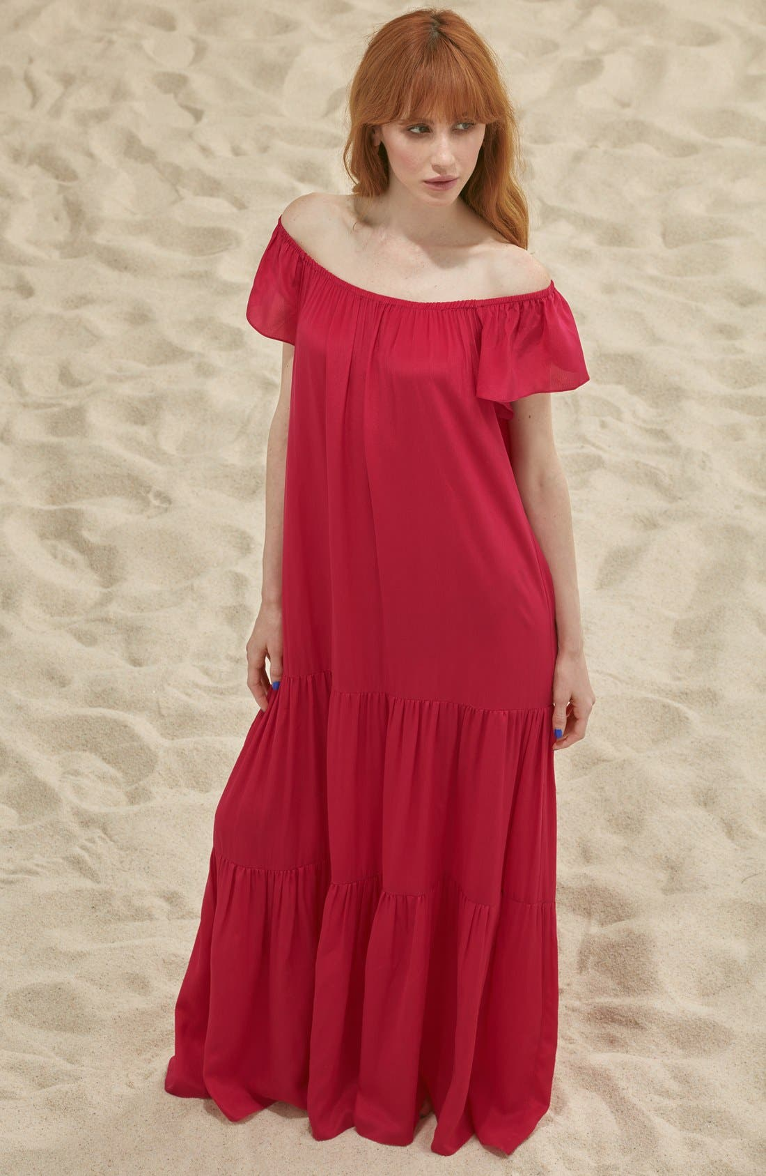 Main Image - Soler 'Thalia' Off the Shoulder Silk Maxi Dress