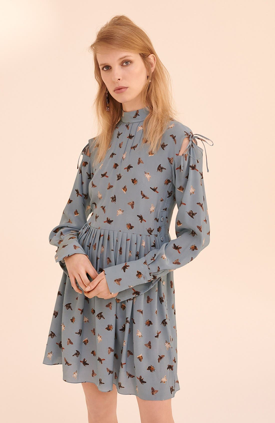 Alternate Image 8  - Topshop Unique 'Campion' Butterfly Print Silk Babydoll Dress