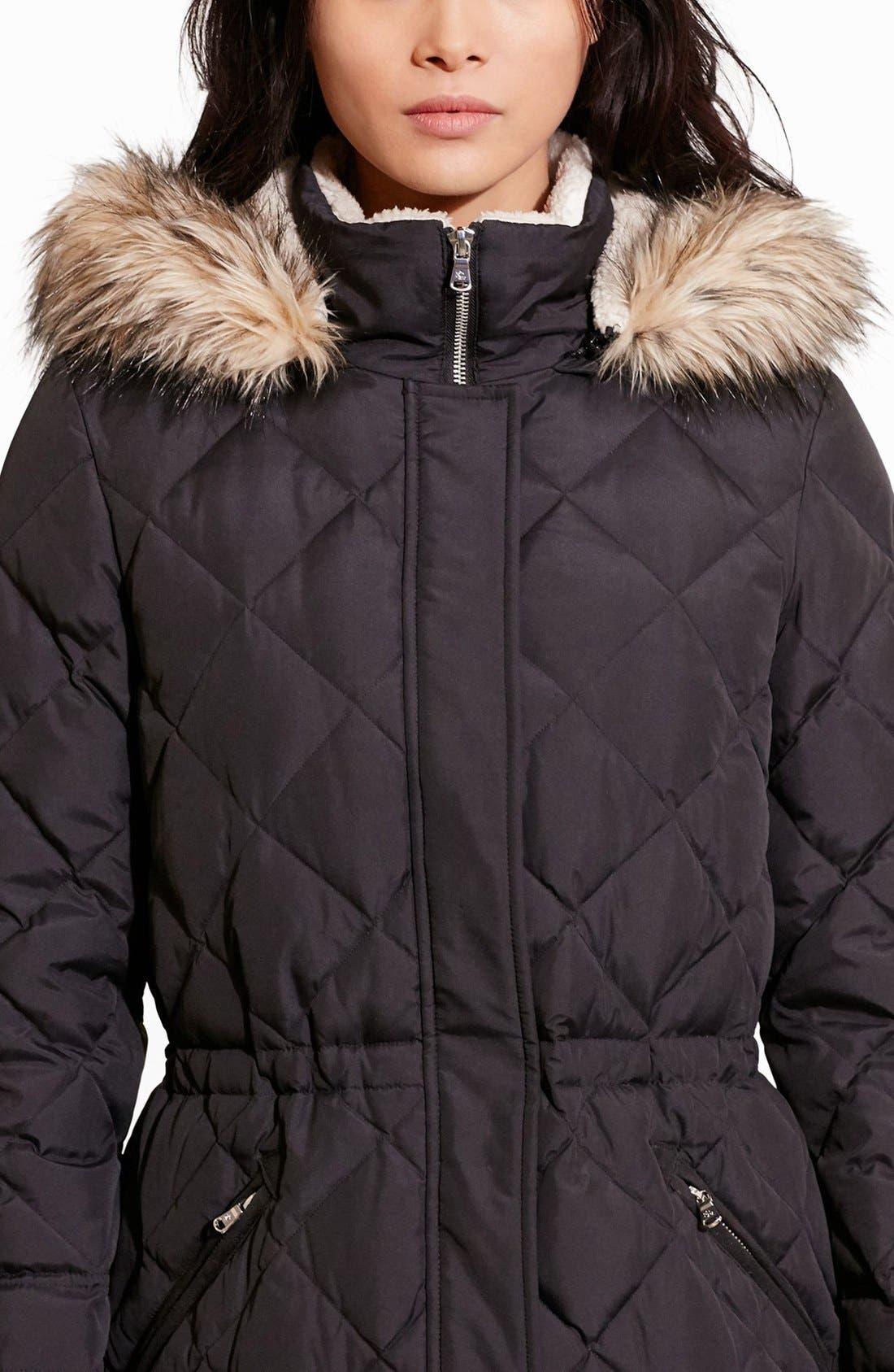 Alternate Image 4  - Lauren Ralph Lauren Quilted Jacket with Faux Fur Trim
