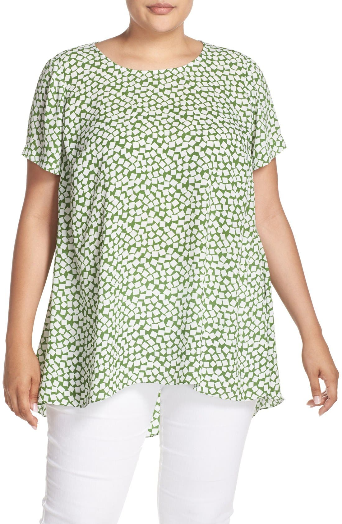 Main Image - Vince Camuto 'Falling Cubes' Print Short Sleeve High/Low Blouse (Plus Size)