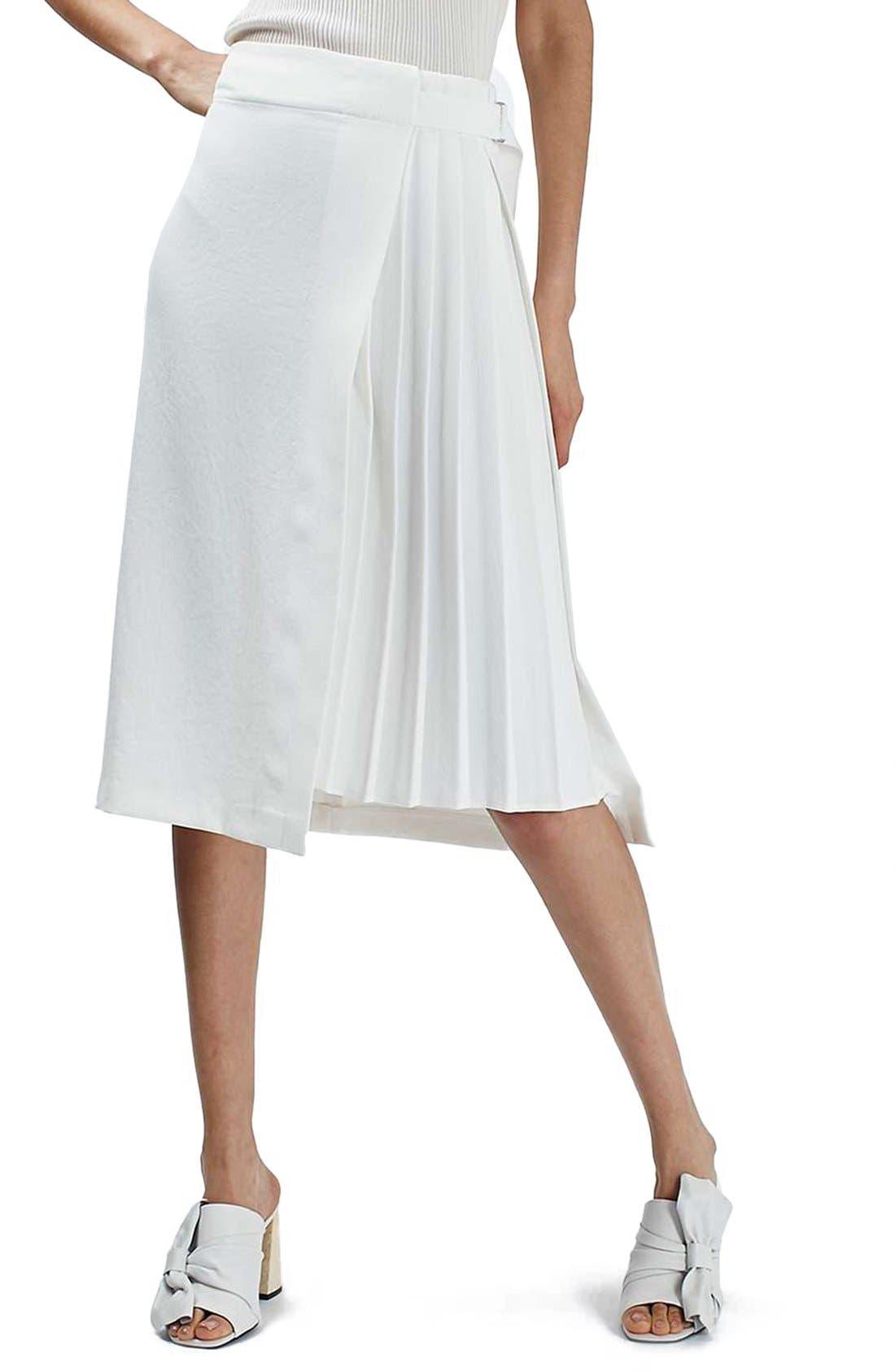 Alternate Image 1 Selected - Topshop Pleat Detail Wrap Midi Skirt