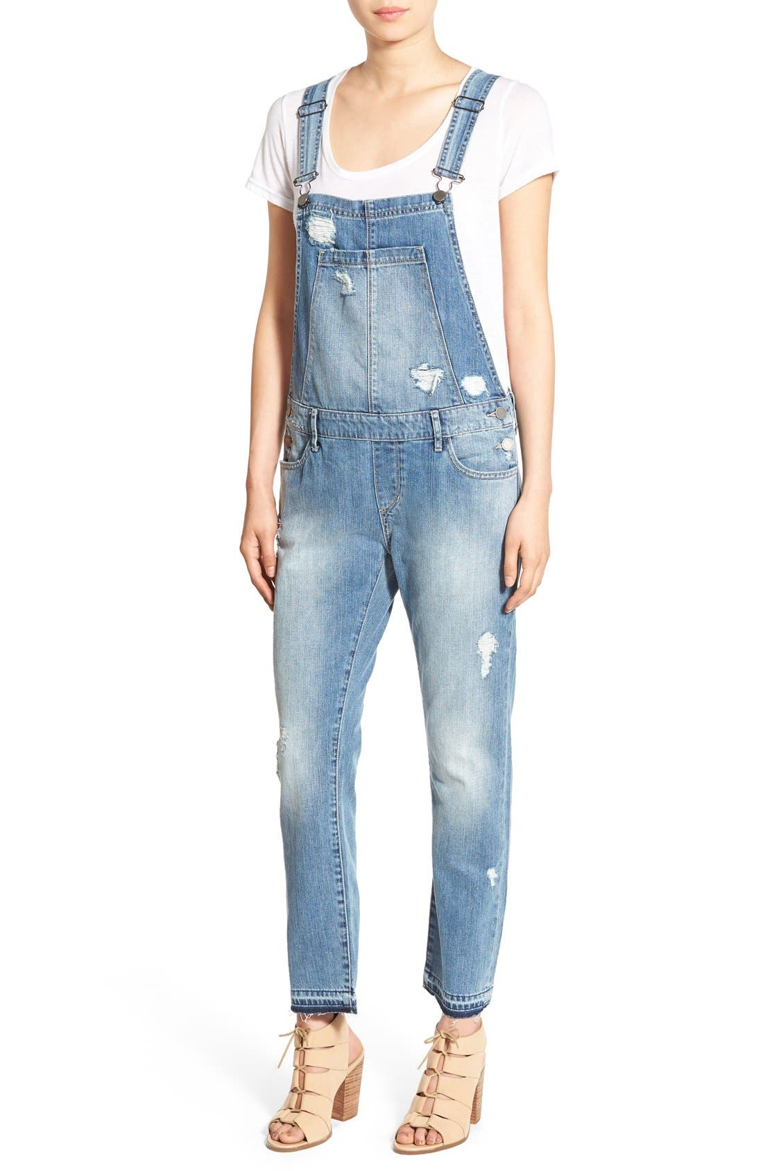 Alternate Image 1 Selected - Articles of Society Distressed Denim Overalls