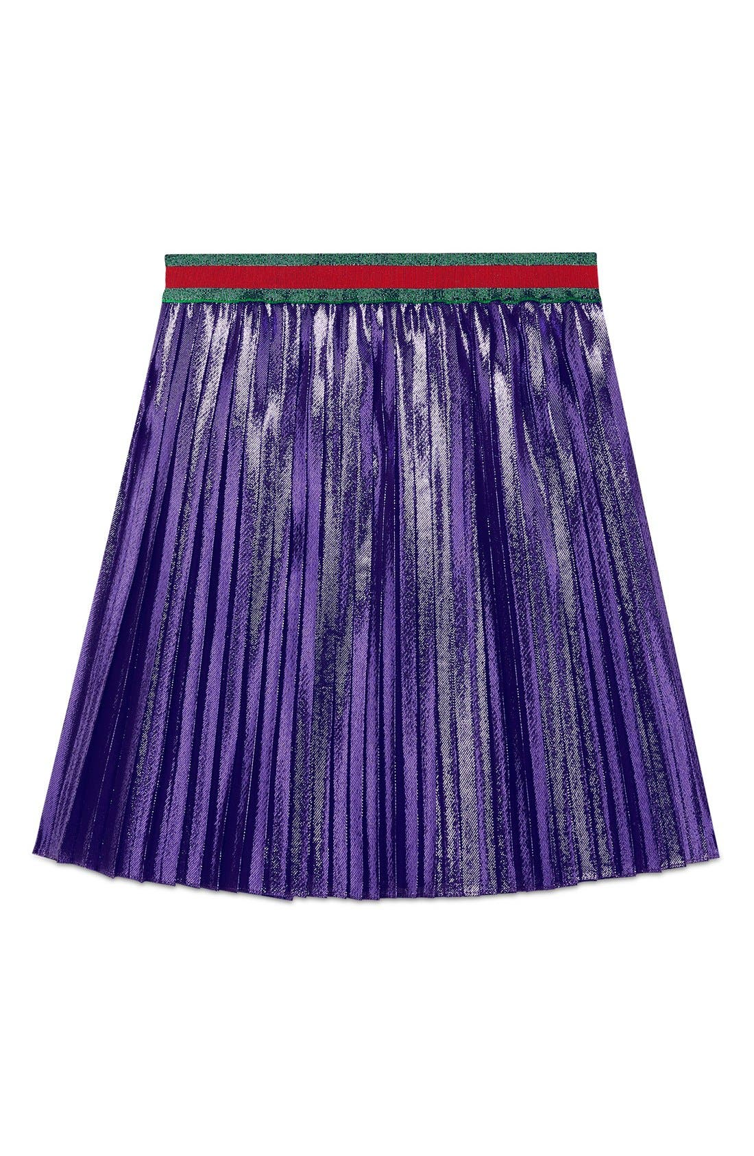 GUCCI Pleated Purple Lamé Skirt