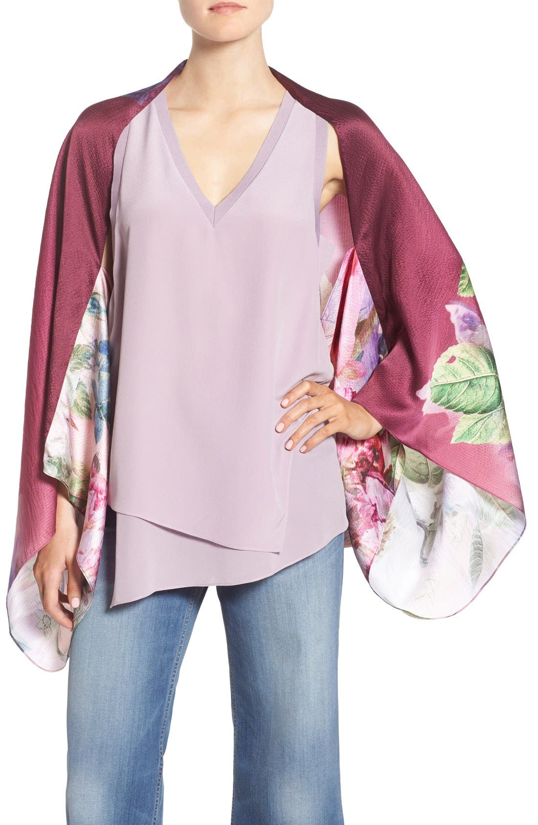 Ted Baker London 'Pure Peony' Print Silk Scarf Cape