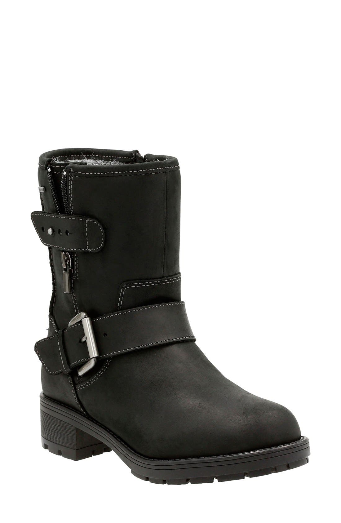 CLARKS® 'Reunite Go' Gore-Tex® Waterproof Moto Boot