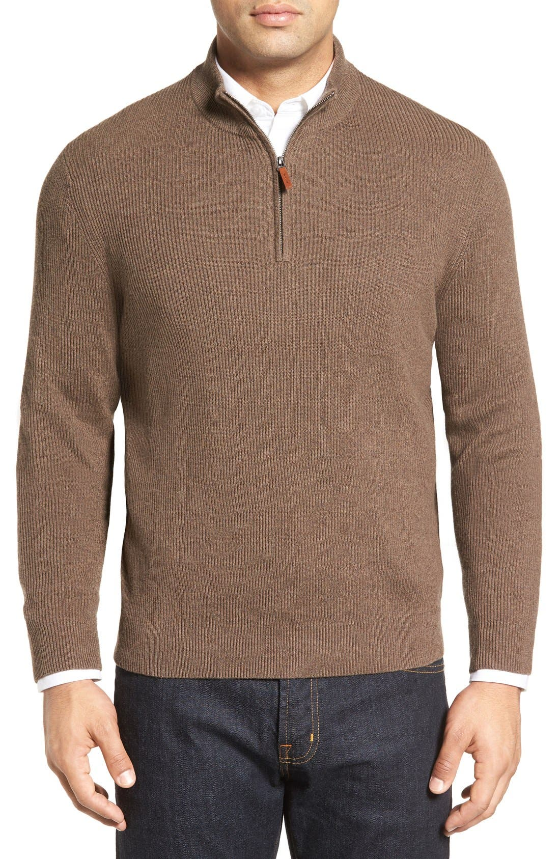Alternate Image 1 Selected - Nordstrom Men's Shop Cotton & Cashmere Rib Knit Sweater (Regular & Tall)