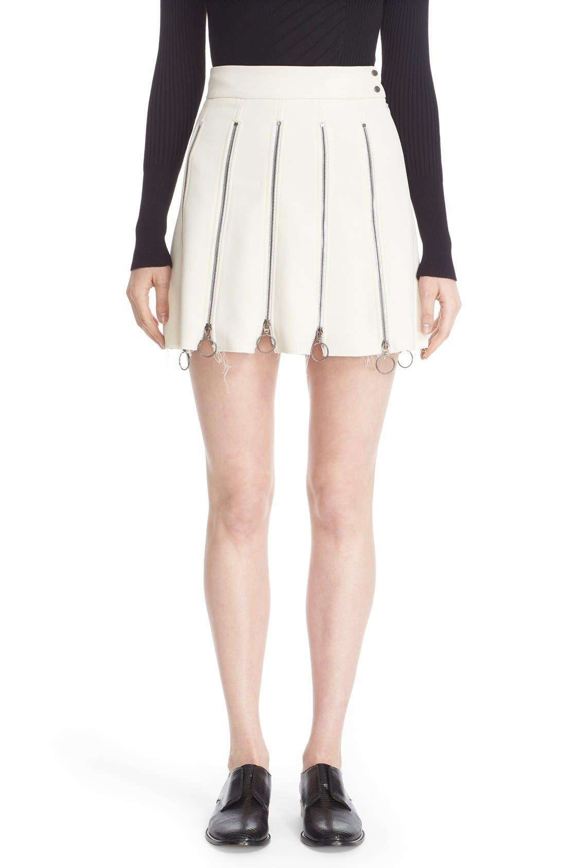 Alternate Image 1  - Etienne Deroeux 'Tania' Zip Detail Miniskirt
