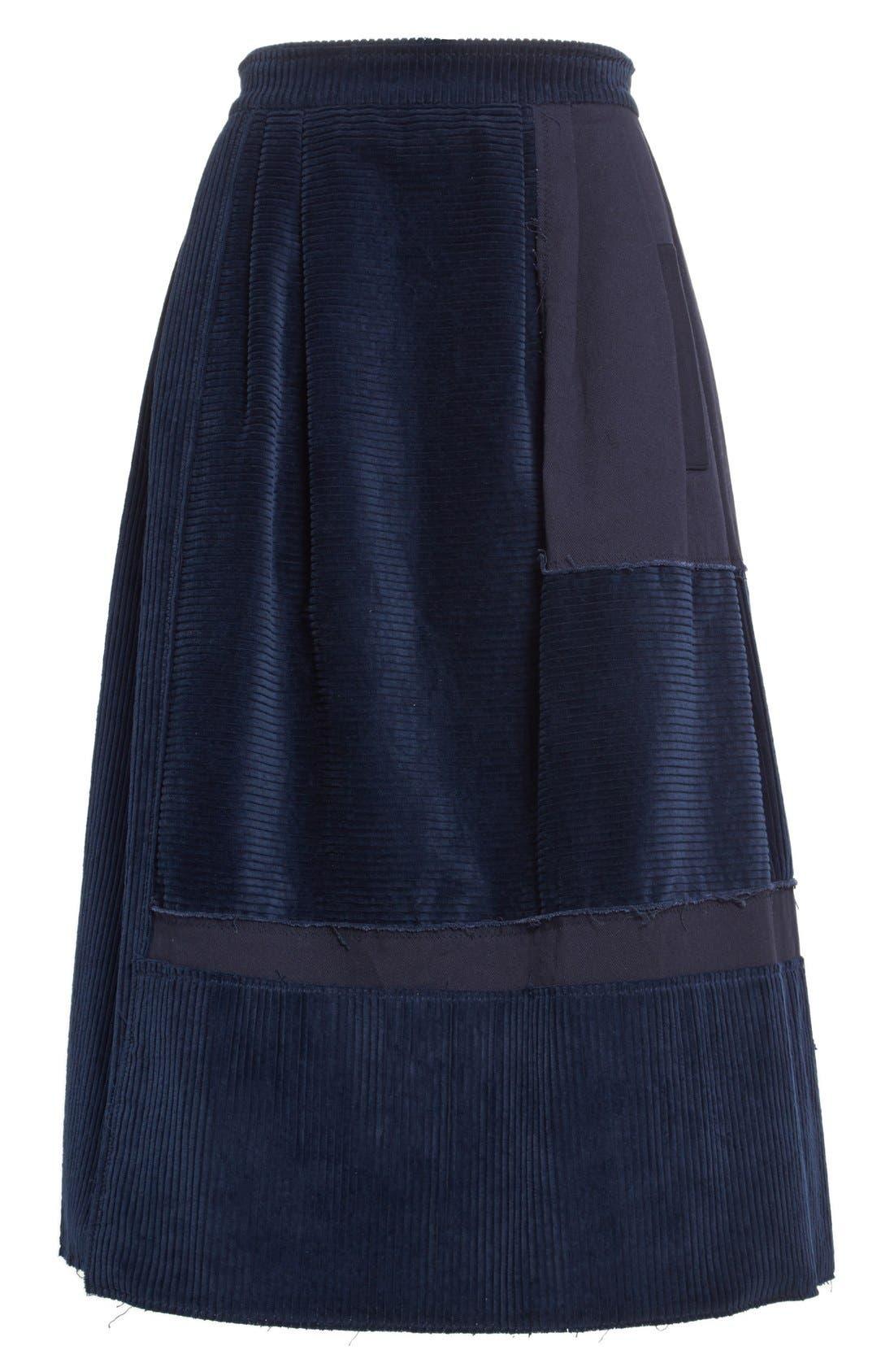 Alternate Image 4  - steventai Corduroy & Denim Patchwork Midi Skirt