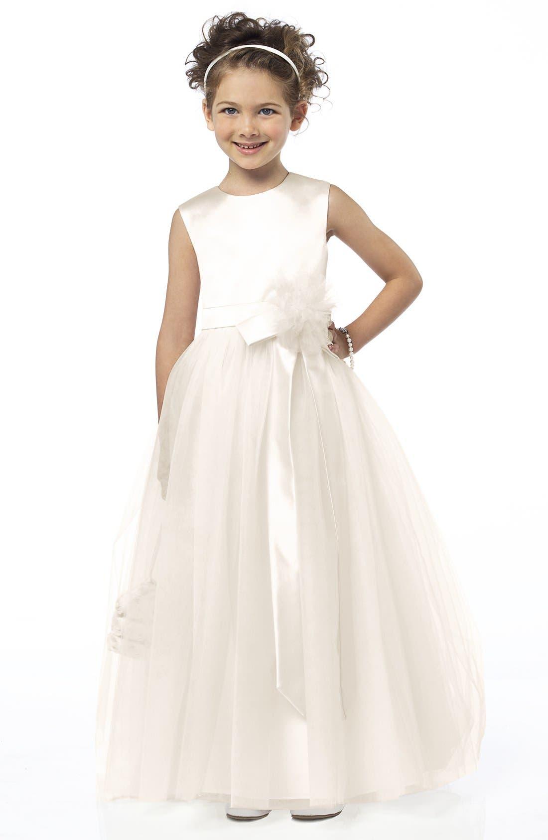 Dessy Collection Sleeveless Satin & Tulle Flower Girl Dress (Toddler Girls, Little Girls & Big Girls)