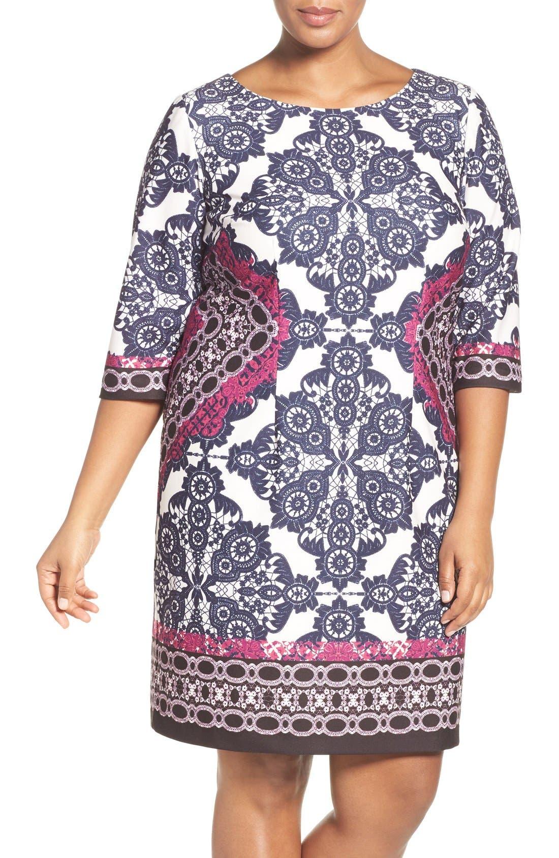 Main Image - Eliza J Geo Print Ponte Sheath Dress (Plus Size)