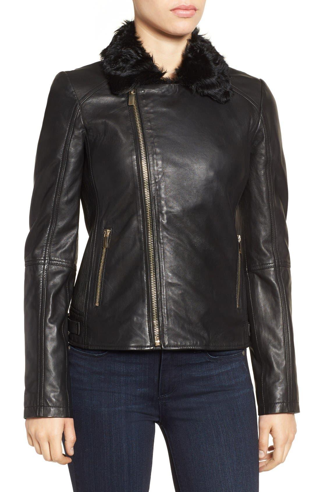 Alternate Image 4  - Badgley Mischka 'Irina' Leather Moto Jacket with Genuine Shearling Collar