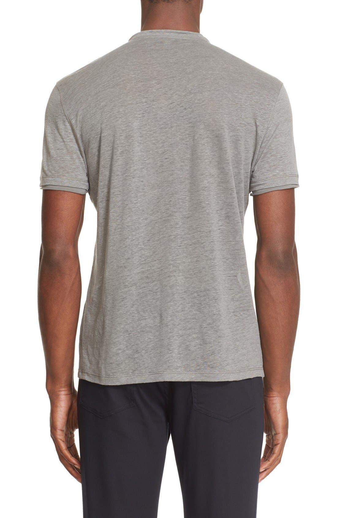 Alternate Image 2  - John Varvatos Collection V-Neck Linen T-Shirt