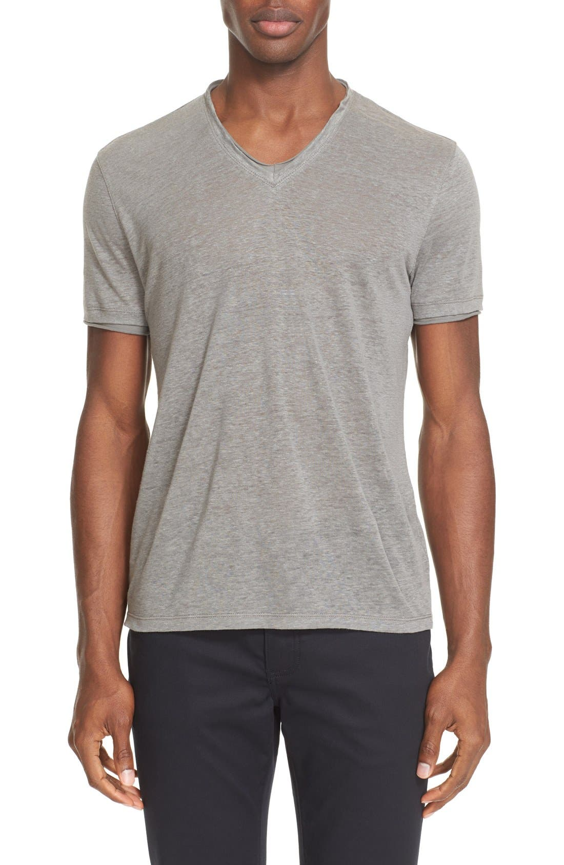 John Varvatos Collection V-Neck Linen T-Shirt
