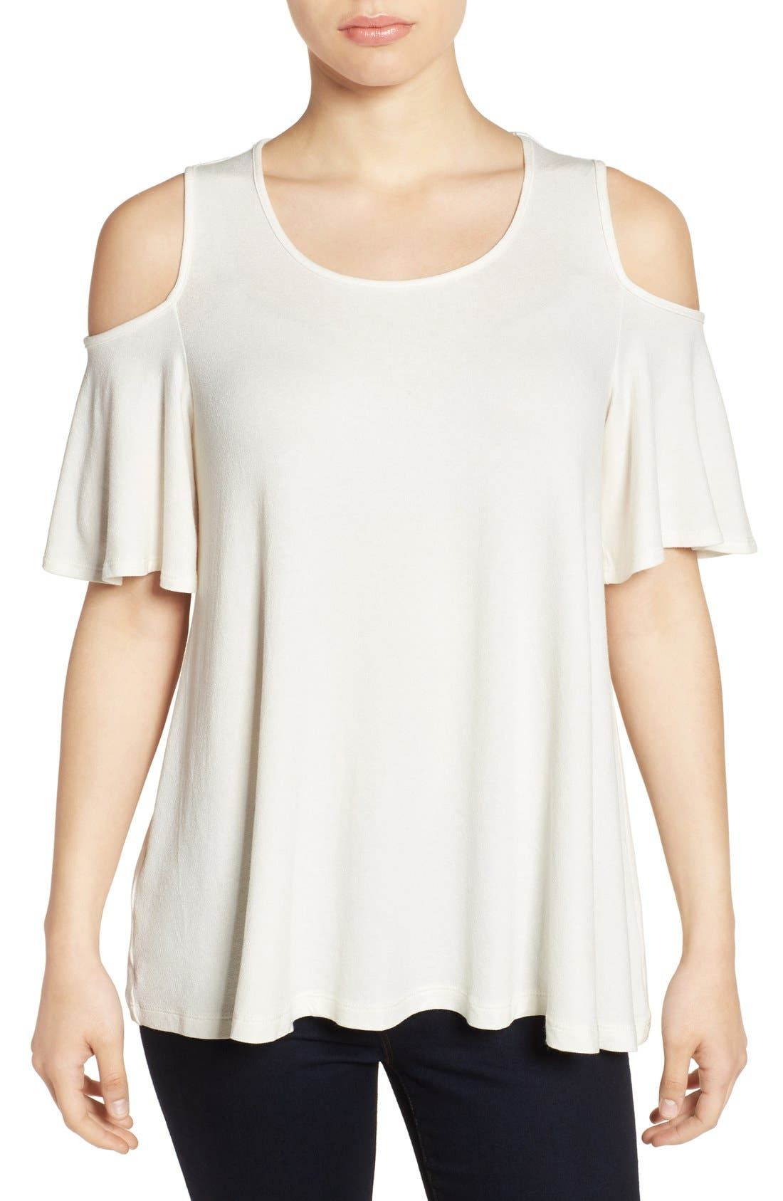 Main Image - Bobeau Cold Shoulder Short Sleeve Top