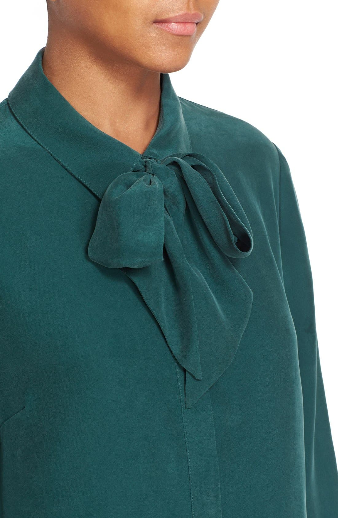 Alternate Image 4  - FRAME Tie Neck Silk Blouse (Nordstrom Exclusive)