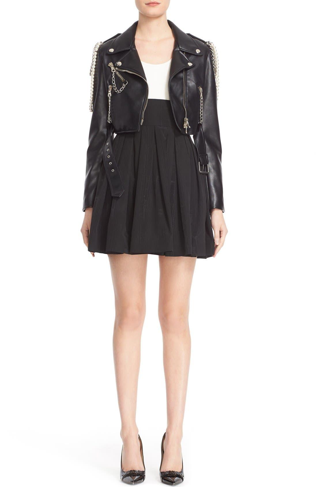 Alternate Image 7  - Moschino Chain & Imitation Pearl Embellished Faux Leather Jacket