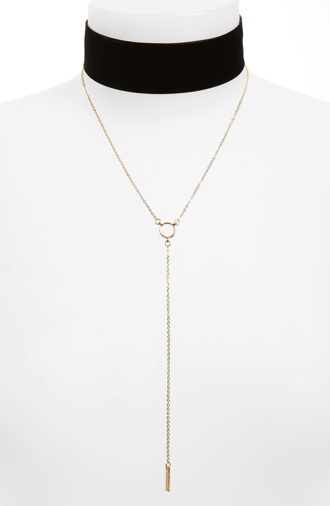 Main Image - BP. Velvet Choker & Lariat Necklace (Set of 2)