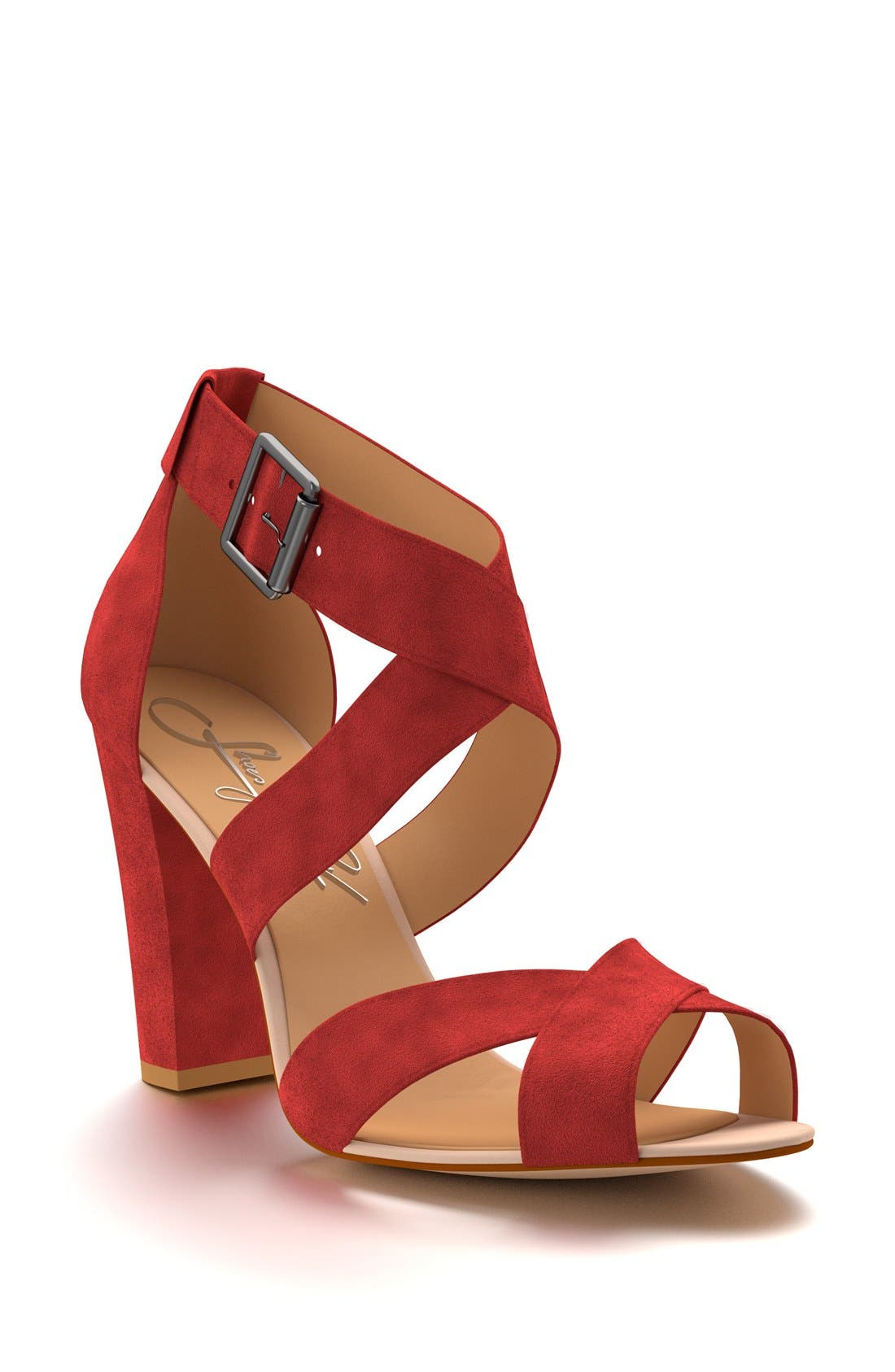 SHOES OF PREY Crisscross Strap Block Heel Sandal