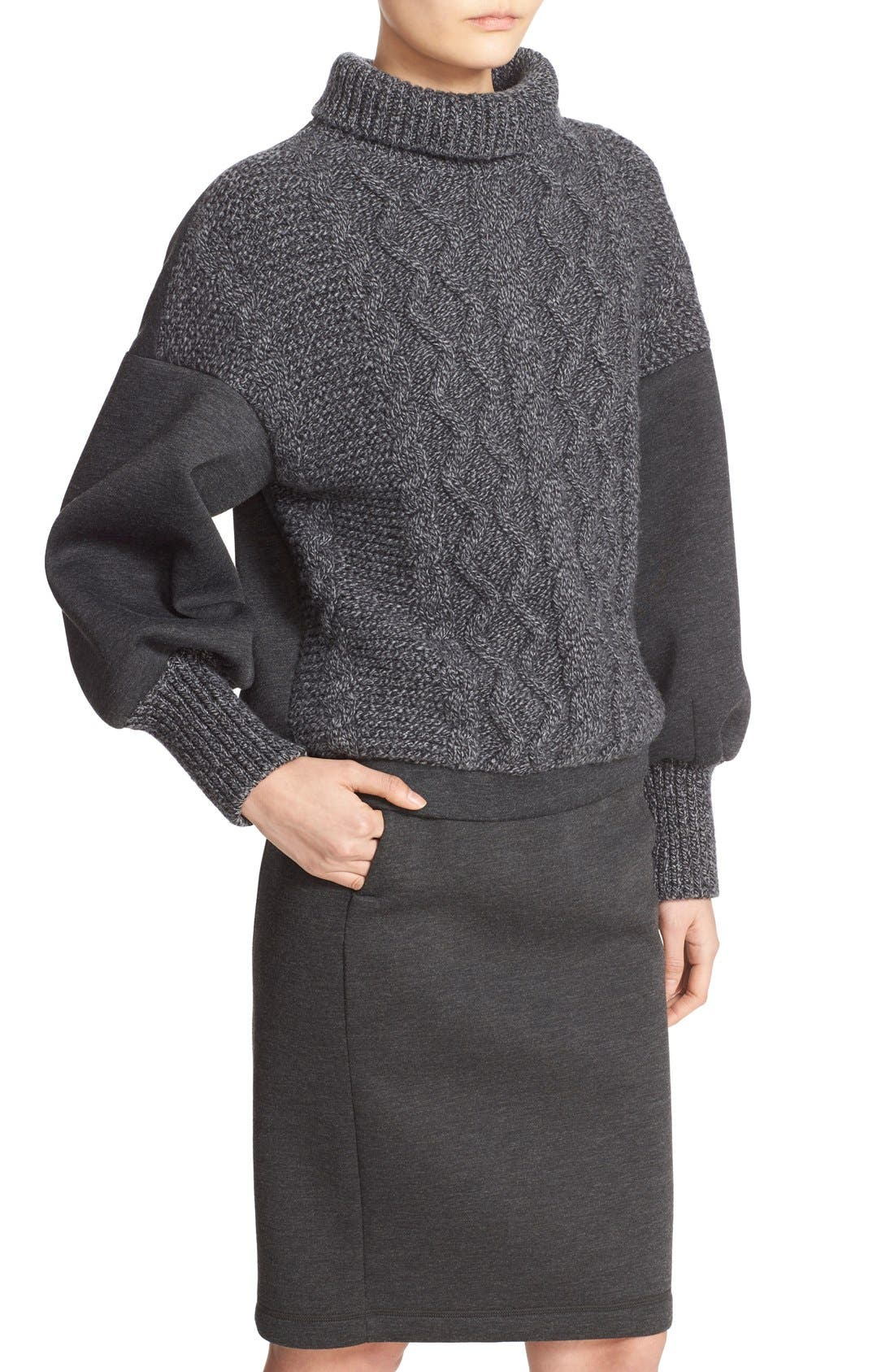 Alternate Image 6  - Tomas Maier Cable Knit & Scuba Fleece Turtleneck