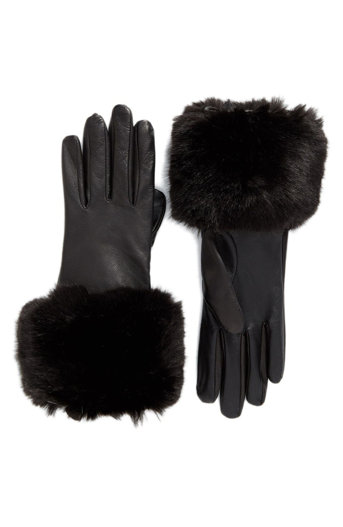 Main Image - Ted Baker London Leather Gloves with Faux Fur Cuff