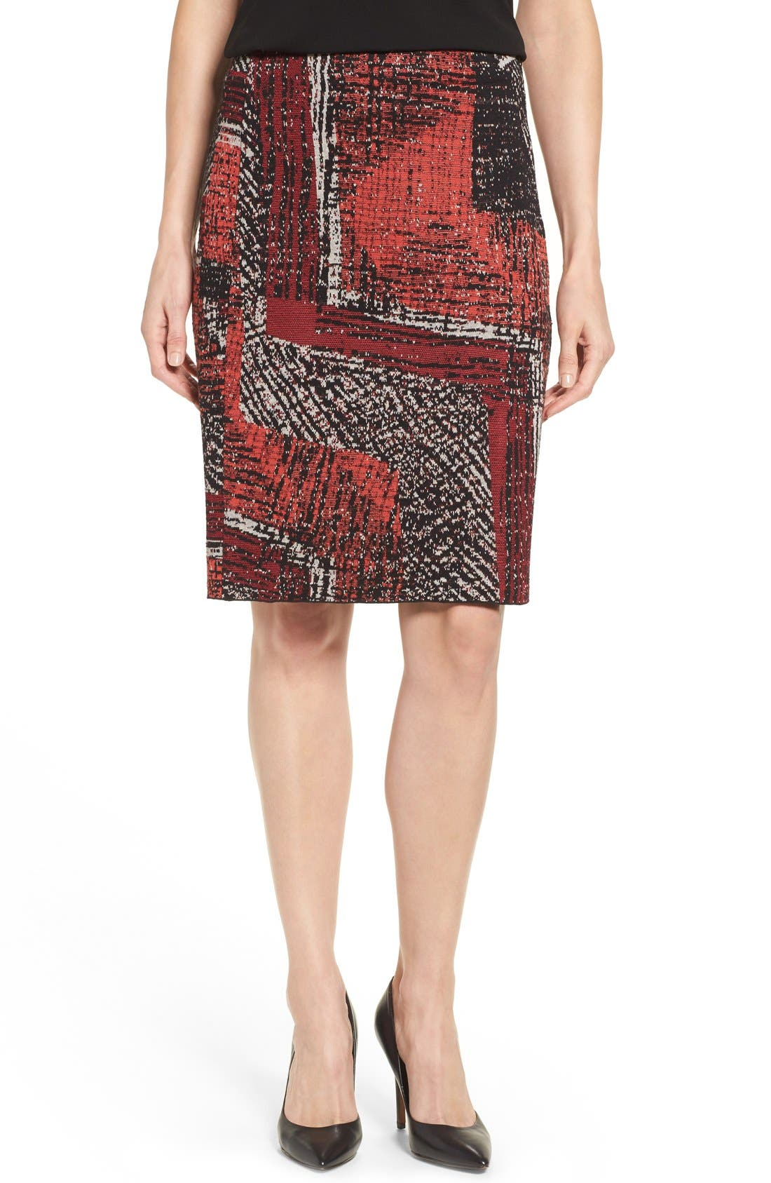 Alternate Image 1 Selected - NIC+ZOE 'Making Marks' Print Knit Pencil Skirt (Regular & Petite)