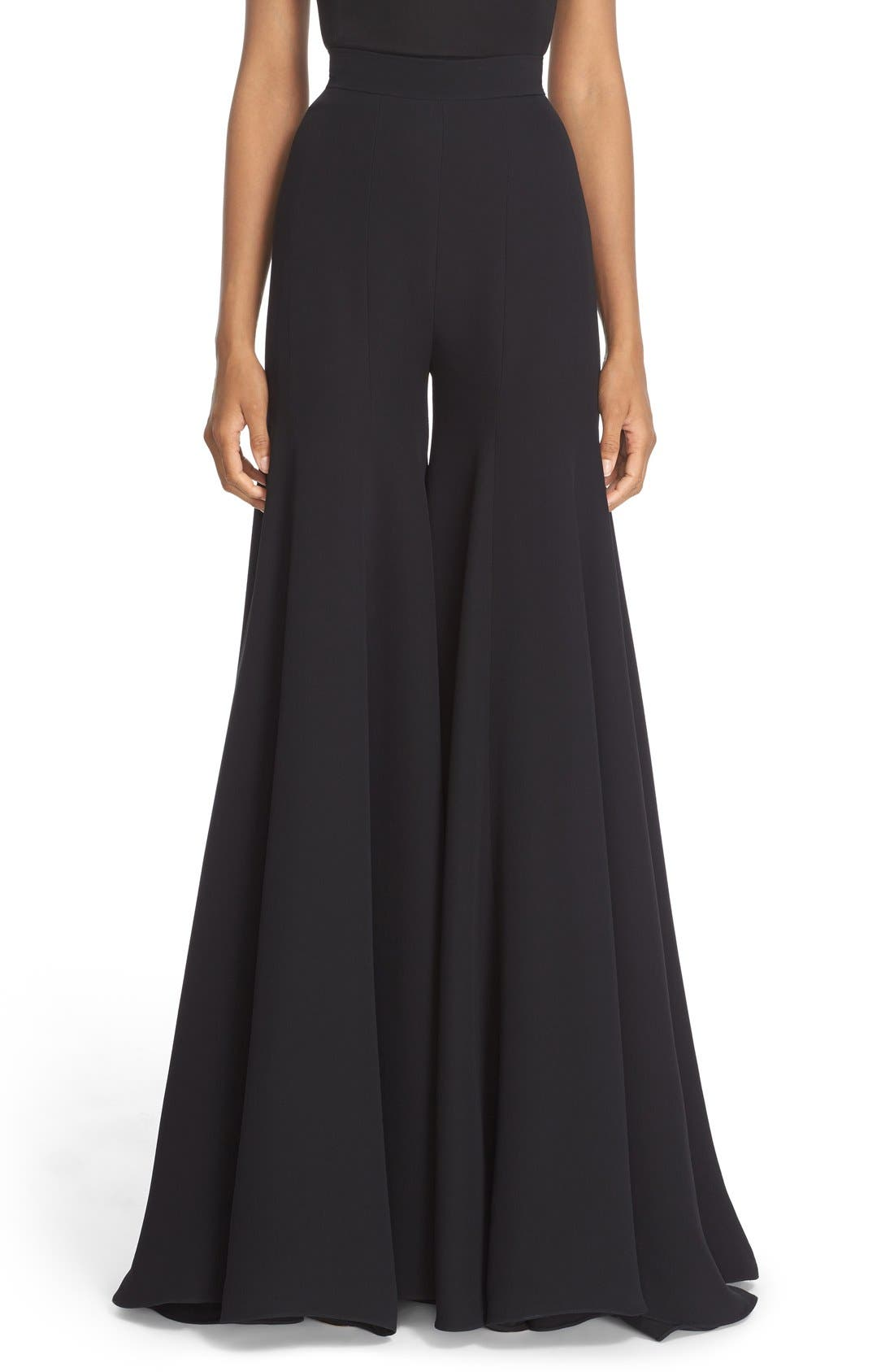 BRANDON MAXWELL Paneled Wide Leg Crepe Pants