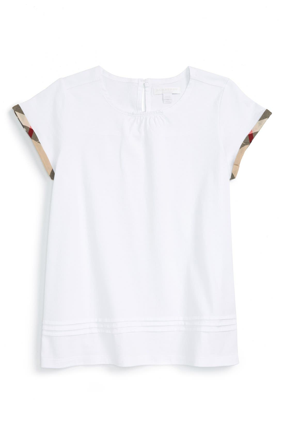 BURBERRY 'Gisselle' Pleated Cuff Sleeve Tee