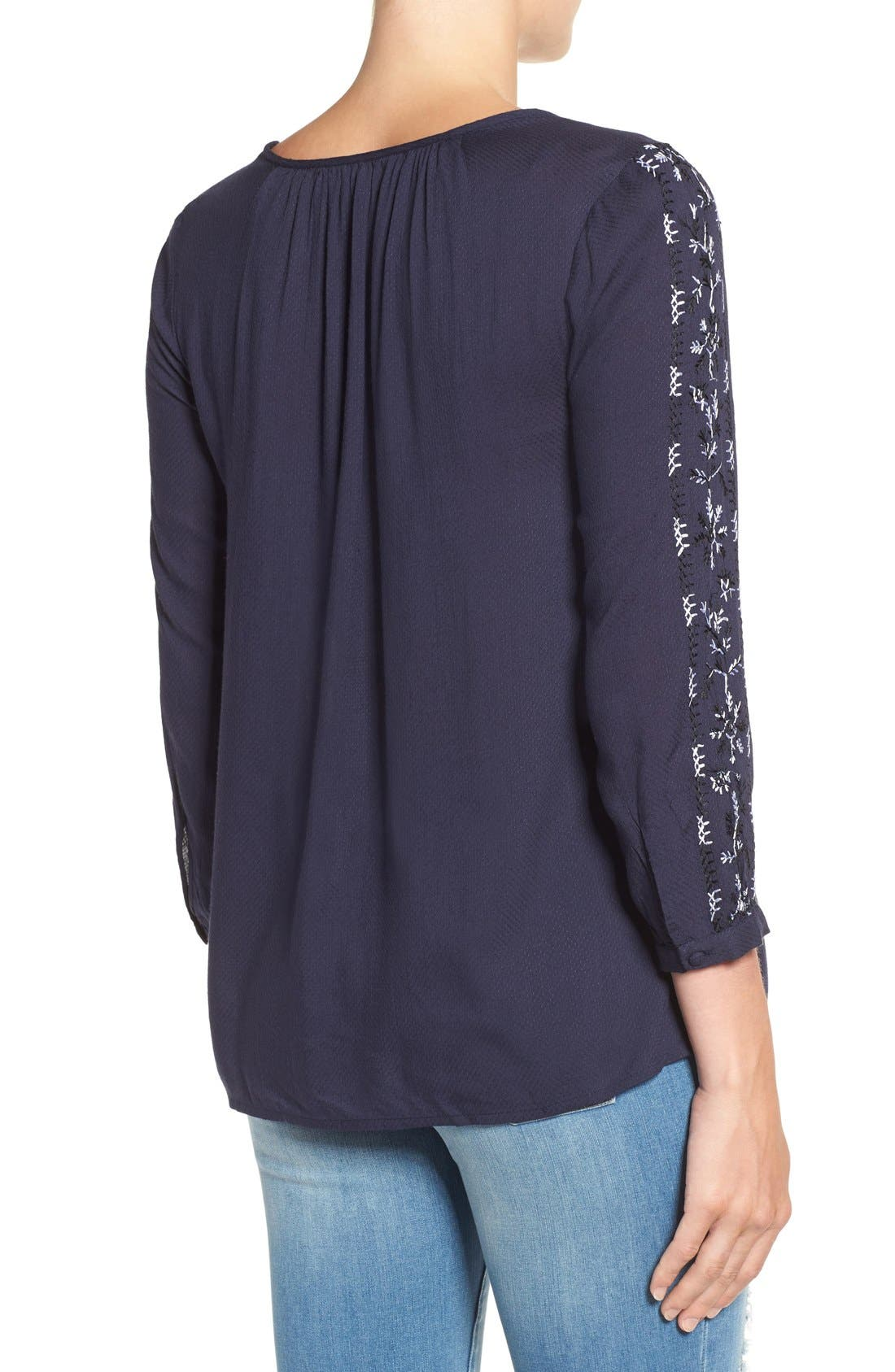 Alternate Image 2  - Lucky Brand Embroidered Peasant Blouse