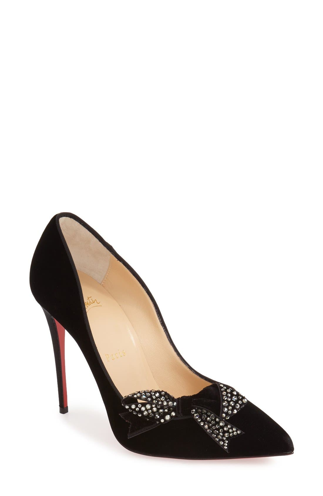 CHRISTIAN LOUBOUTIN 'Madame Menule' Embellished Bow Pointy Toe