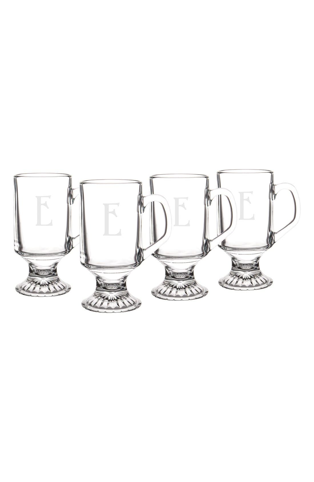 Alternate Image 1 Selected - Cathy's Concepts Monogram Irish Coffee Mugs (Set of 4)