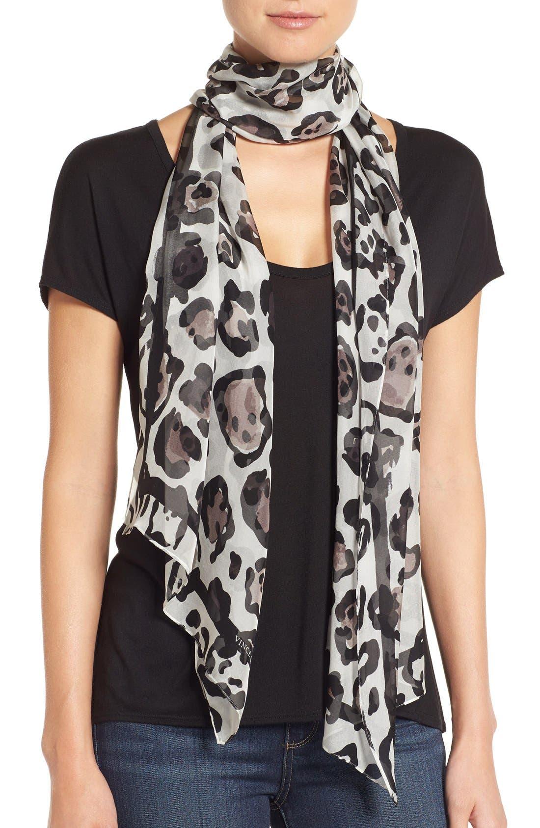 Main Image - Vince Camuto Leopard Print Silk Scarf