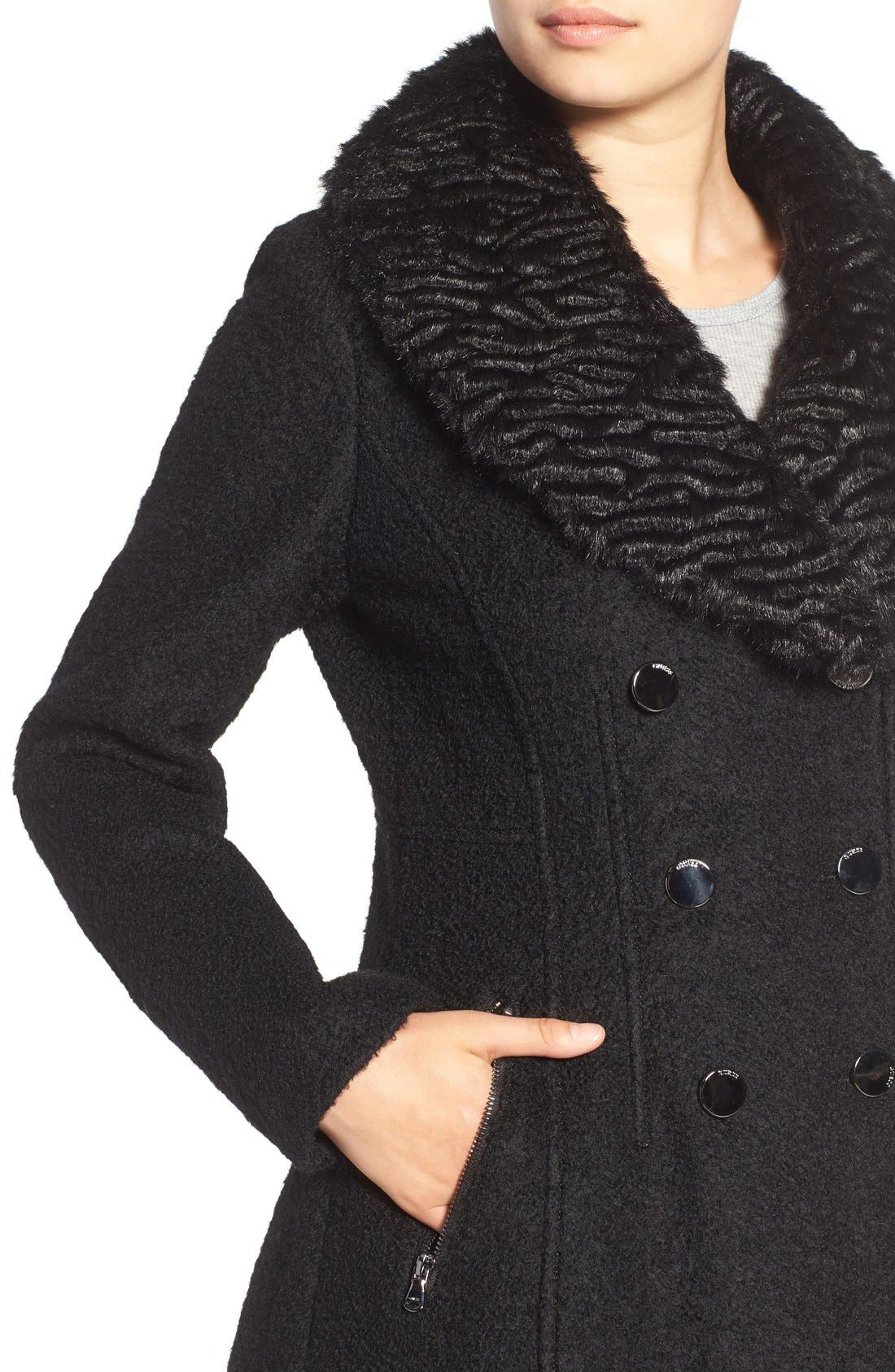 Alternate Image 4  - GUESS Bouclé Fit & Flare Coat with Faux Fur Collar