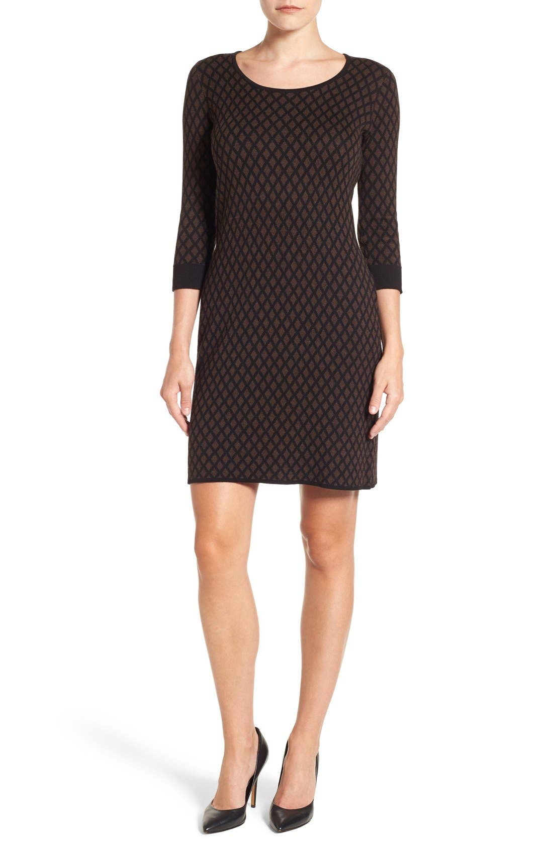 Foxcroft Diamond Print Sweater Dress (Regular & Petite)