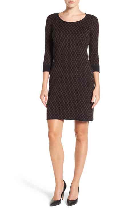 Foxcroft Diamond Print Sweater Dress (Regular   Petite)