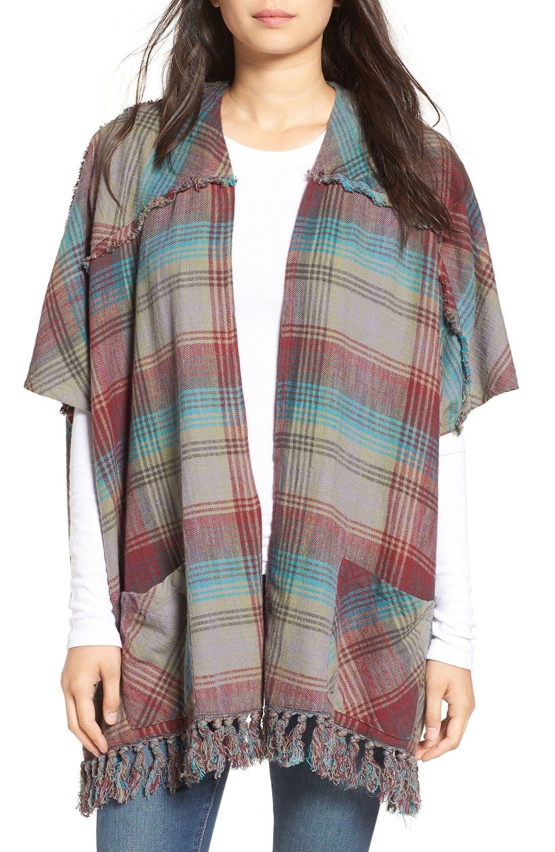 Alternate Image 1 Selected - Billabong 'Forever Fall' Plaid Kimono Cardigan