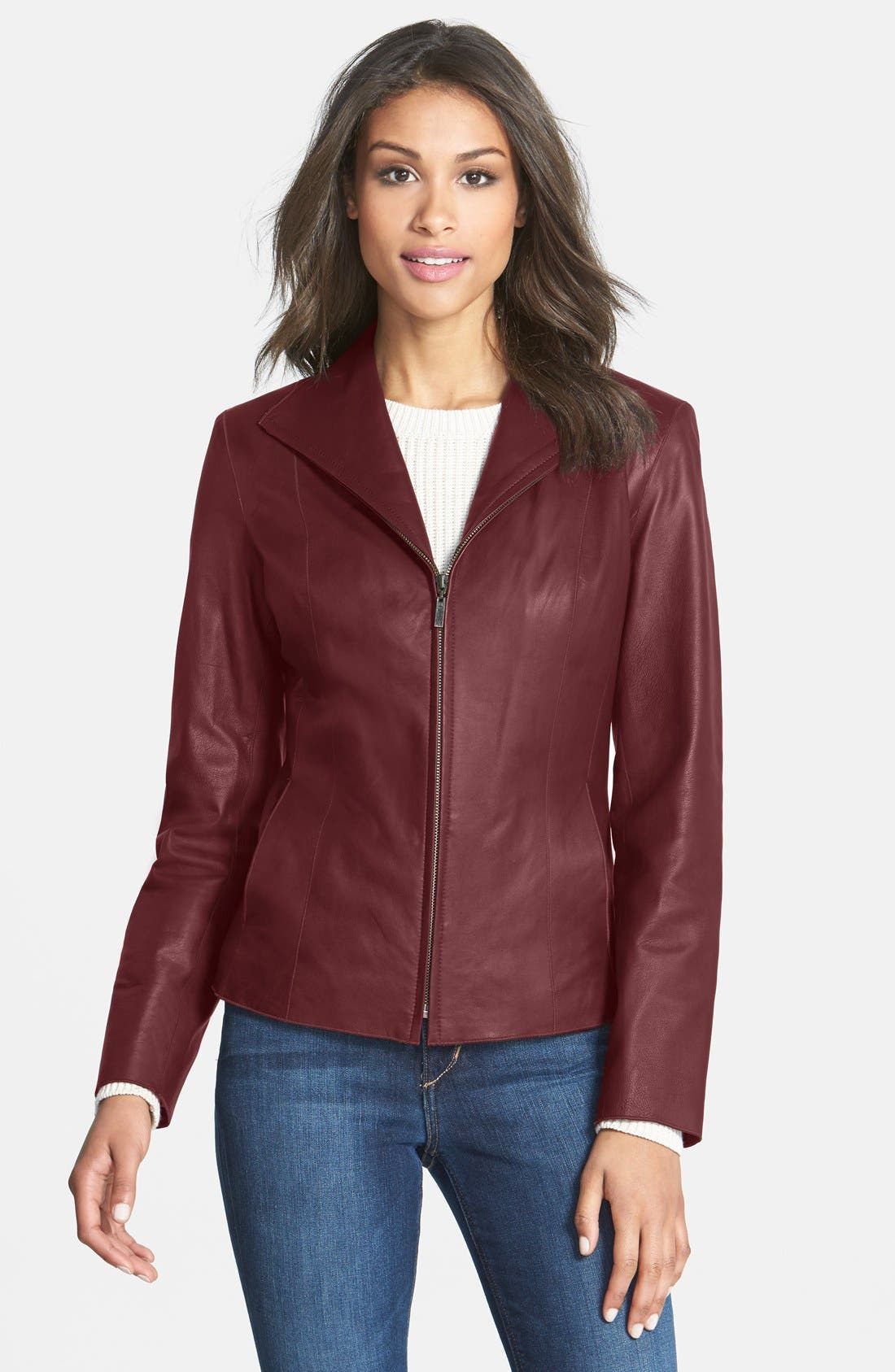 Main Image - Cole Haan Lambskin Leather Scuba Jacket