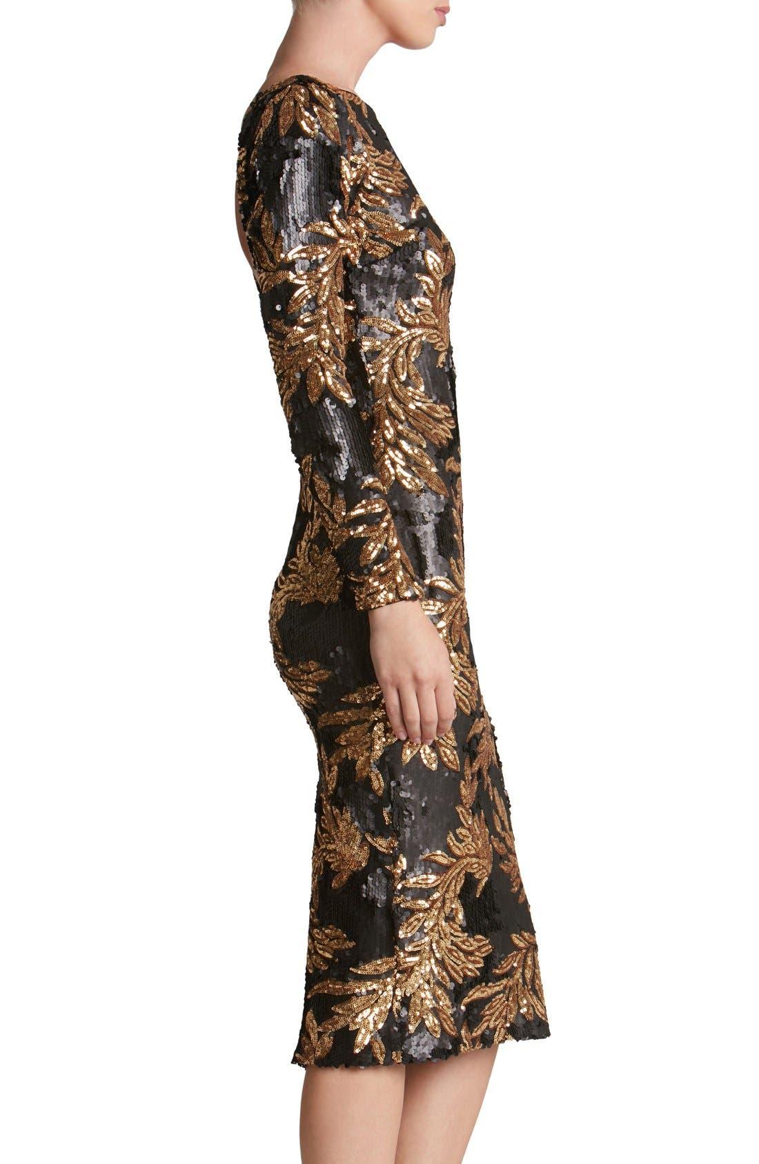 Alternate Image 3  - Dress the Population 'Emery' Scoop Back Two-Tone Sequin Sheath Dress