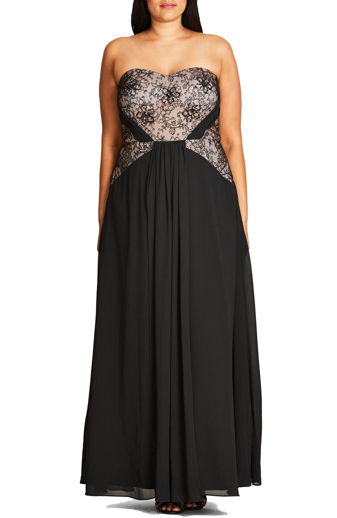 CITY CHIC 'Sofia' Lace Bodice Strapless Gown