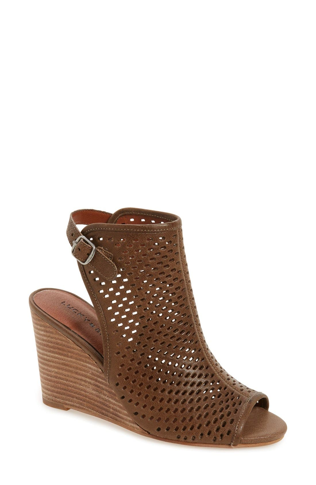 Alternate Image 1 Selected - Lucky Brand 'Rozina' Cutout Wedge Sandal (Women)