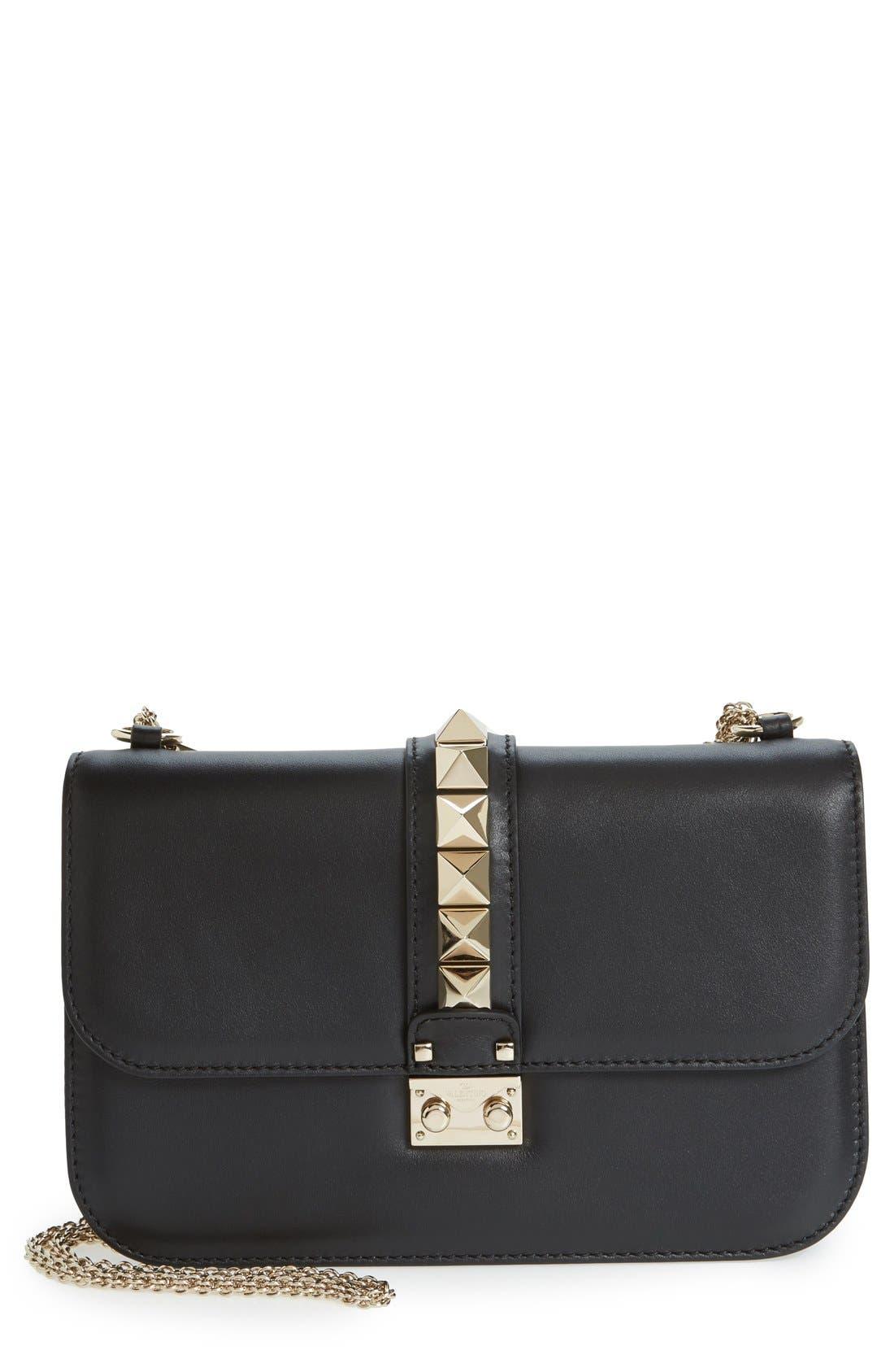 Main Image - Valentino 'Medium Lock' Studded Leather Shoulder Bag