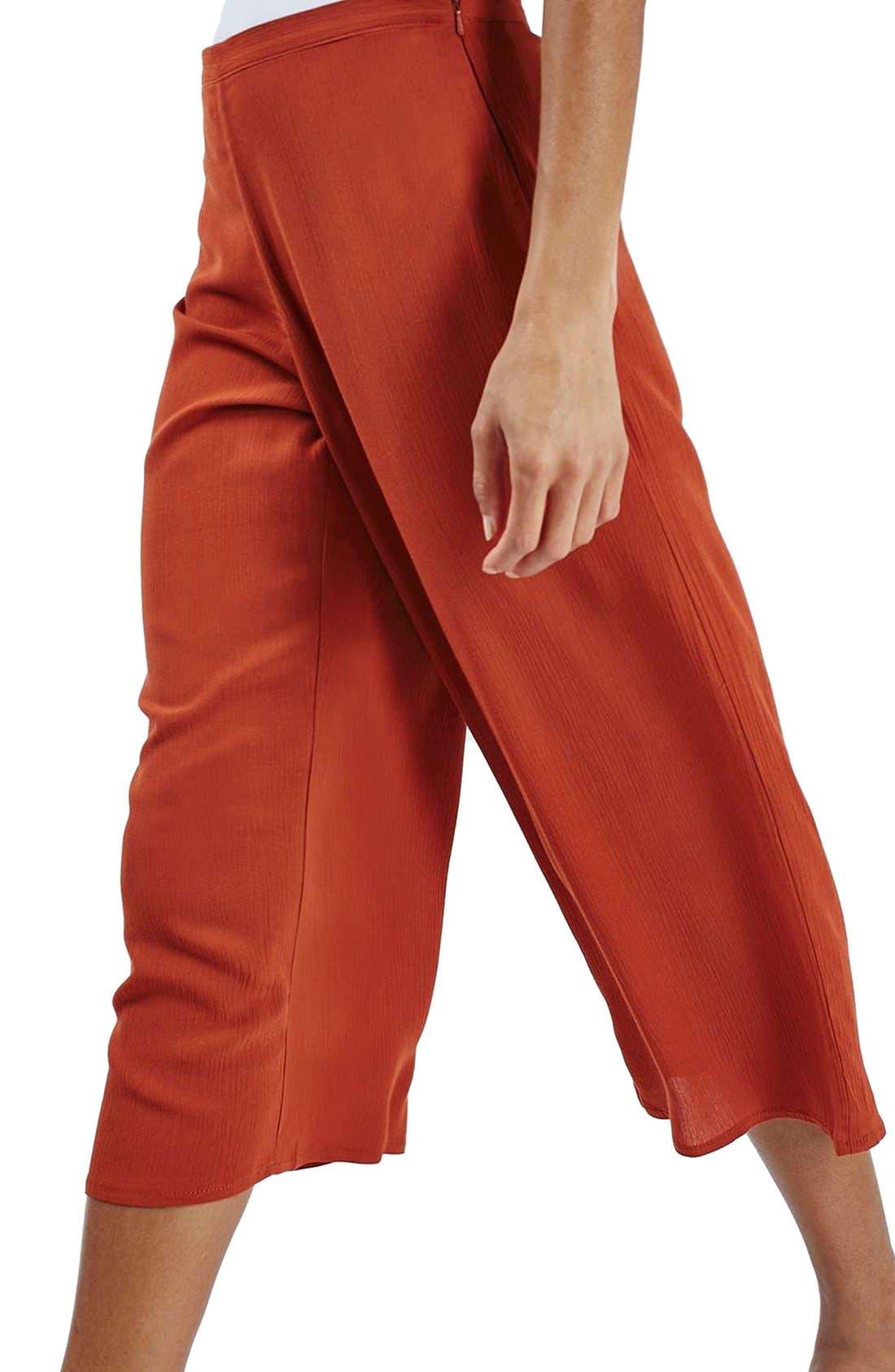 Alternate Image 5  - Topshop Crinkled Crop Wide Leg Trousers