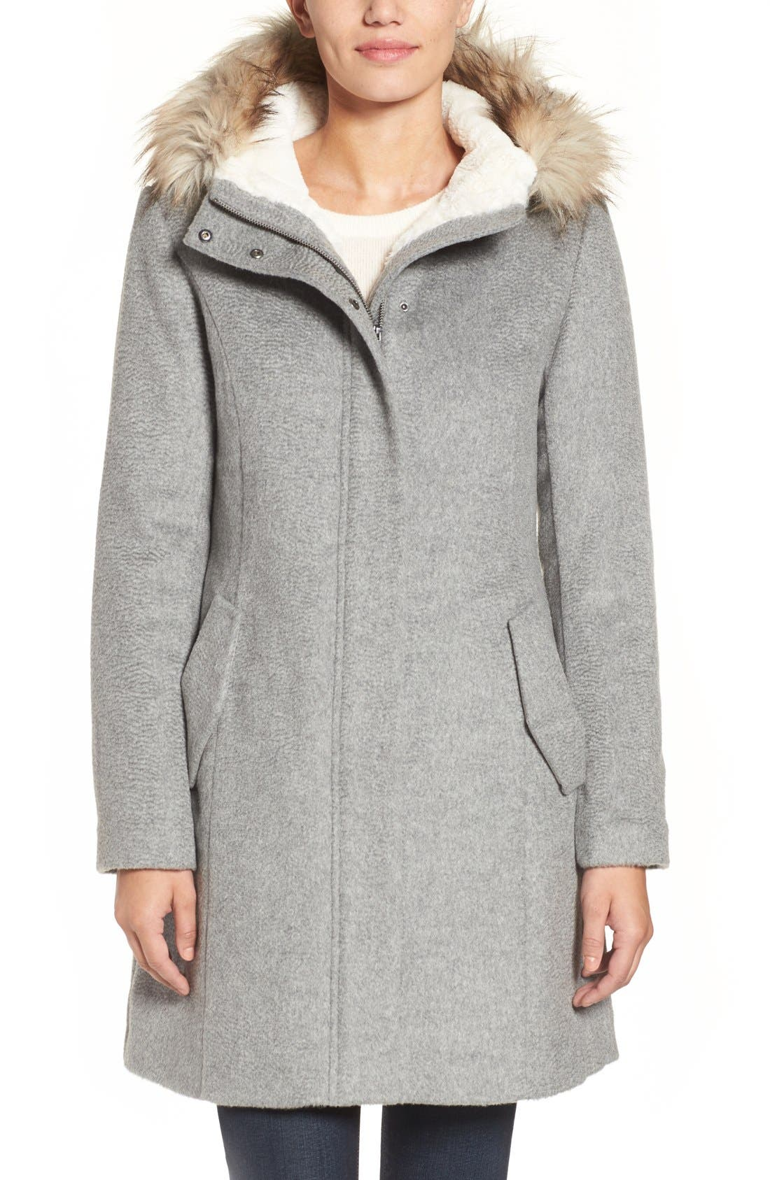 Main Image - Cole Haan Wool Parka With Faux Fur Trim