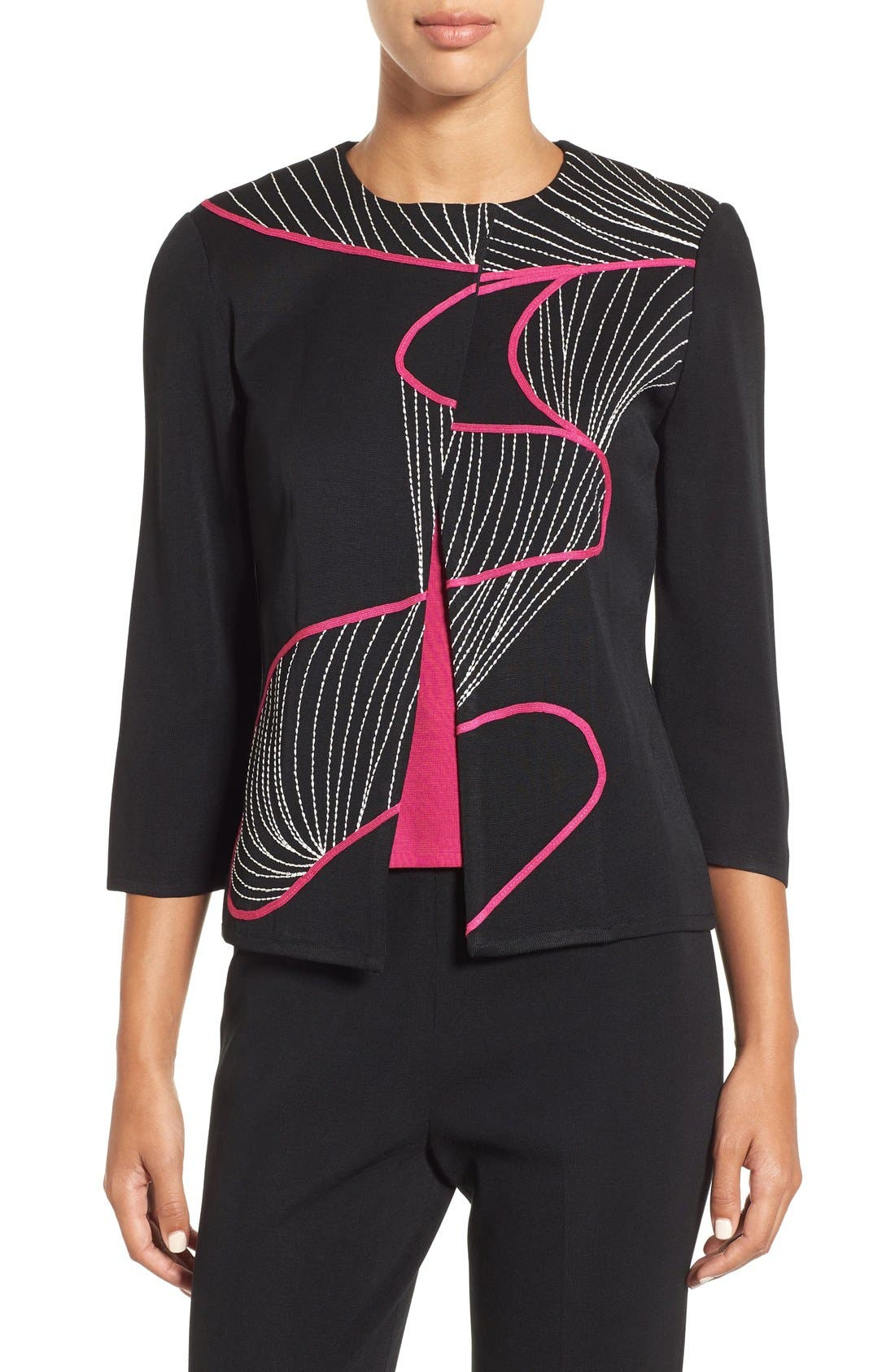 Ming Wang Asymmetrical Embroidered Knit Jacket